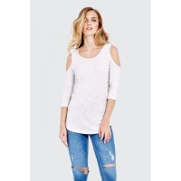 Women 3 QTR SLV BABY LOOPBACK COLD SHOULDER SWEAT S0460501038_OATMEAL SXSGYLY
